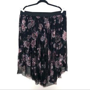 Torrid Black Rose Floral Mesh Elastic Waist Skirt